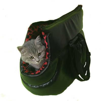 PetStyle Deri Kedi Taşıma Çantası - Kırmızı / Siyah Benekli