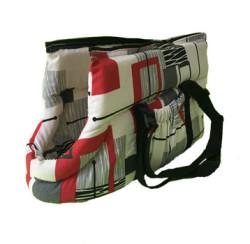 Pet Style - PetStyle Kedi Taşıma Çantası - Beyaz / Kırmızı Çizgi Desenli