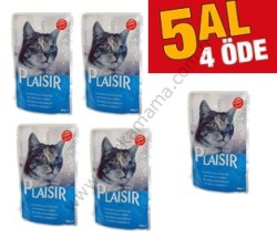 - - Plaisir Pouch Alabalık ve Karidesli Kedi Yaş Maması 5 AL 4 Öde (Seçici Kediler İçin)
