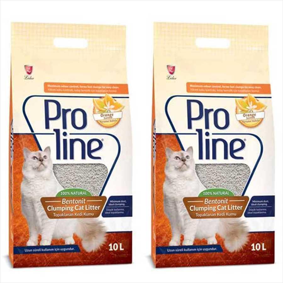 ProLine Topaklaşan Portakal Kokulu Kedi Kumu 10 LT * 2 Adet