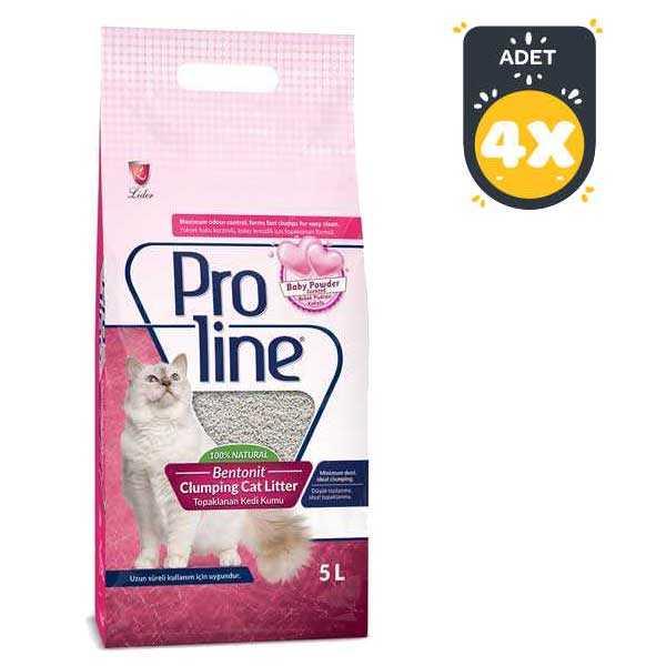 ProLine Bentotit Topaklaşan Parfüm Kokulu Kedi Kumu 5 LT * 4 Adet
