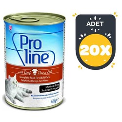 Pro Line - Proline Biftekli Kedi Konservesi 415 GR x 20 Adet