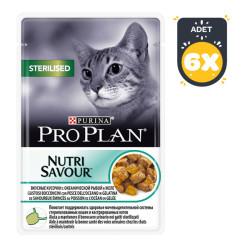 ProPlan - ProPlan Nutri Savour Kısır Kedi Balıklı Yaş Mama 85 GR*6 Adet
