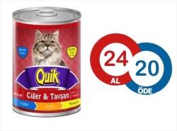 Quik - Quik Ciğer ve Tavşanlı Kedi Konservesi 415 GR ( 24 AL 20 ÖDE )