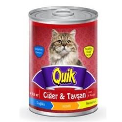 Quik - Quik Ciğer ve Tavşanlı Kedi Konservesi 415 GR