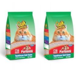 Quik - Quik İnce Taneli Kokulu Topaklanan Kedi Kumu 10 Lt * 2 Adet
