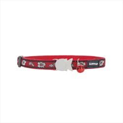 Reddingo - RedDingo Hibicus Desenli Kırmızı Kedi Boyun Tasması 12MM