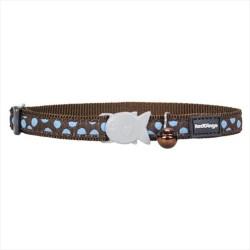 Reddingo - RedDingo Kahverengi Üzerine Mavi Benekli Kedi Boyun Tasması 12 mm