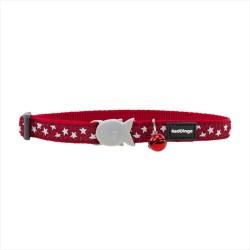 Reddingo - RedDingo Kırmızı Üzerinde Beyaz Yıldızlı Kedi Boyun Tasması 12 mm