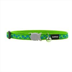 Reddingo - RedDingo Yeşil Üzerine Turkuaz Yıldızlı Kedi Boyun Tasması 12 mm