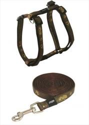 Rogz - Rogz Altın Desenli Kahverengi Tasma Takımı (XSmall)
