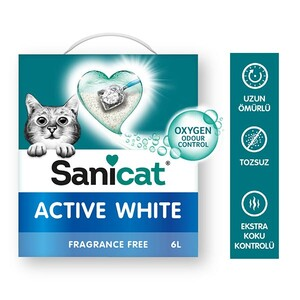 Sanicat Active White Ultra Topaklanan Oksijen Control Kedi Kumu 6 Lt - Thumbnail