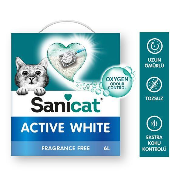 Sanicat Active White Ultra Topaklanan Oksijen Control Kedi Kumu 6 Lt