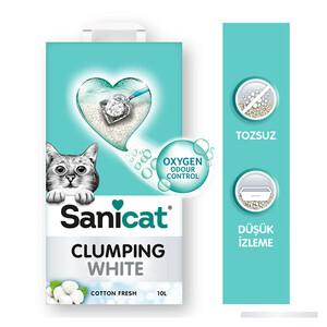 Sanicat Clumping White Cotton Fresh Oksijen Kontrol Kedi Kumu 10 Lt - Thumbnail