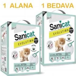 Sanicat - Sanicat Evolution Yavru Kedi Kumu 6 LT ( 1 Alana 1 Bedava )