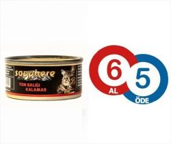 Sapphere - Sapphere Ton Balığı Ve Kalamar Kedi Konservesi 80 Gr (6 Al 5 Öde)