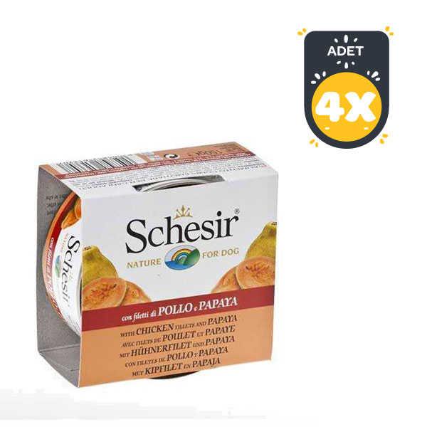 Schesir Fruit Tavuk ve Papaya Köpek Konservesi 150 GR * 4 Adet