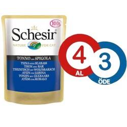 Schesir - Schesir Jelly Ton Balıklı ve Levrekli Yaş Kedi Maması 100 GR * 4 Adet