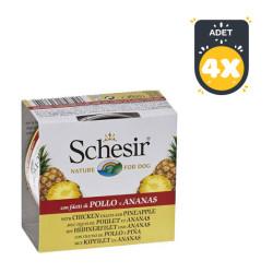Schesir - Schesir Tavuk ve Ananaslı Köpek Konservesi 150 GR * 4 Adet
