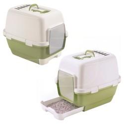 StefanPlast - Stefanplast Cathy Clever Çekmeli Kedi Tuvalet Kabı Yeşil Beyaz