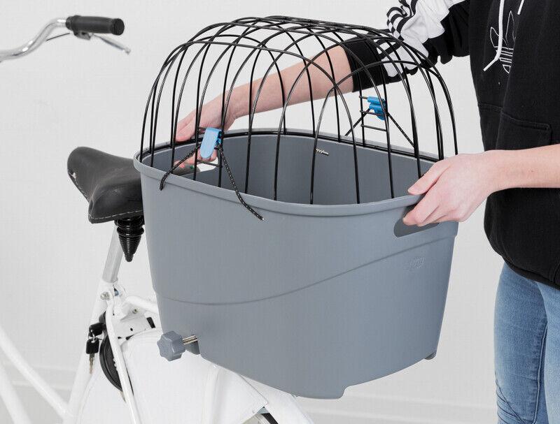 Trixie Plastik ve Metal Köpekler İçin Bisiklet Arkası Sepeti 36x47x46 cm Gri