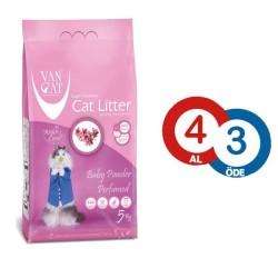 VanCat - VanCat Baby Powder Topaklanan İnce Taneli Kedi Kumu 5 KG * 4 ADET